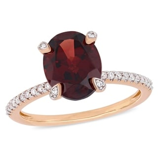 Miadora 10k Rose Gold Oval-Cut Garnet and 1/10ct TDW Diamond Solitaire Ring
