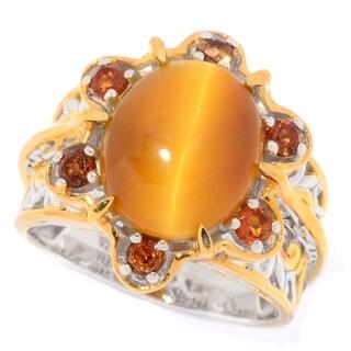 Michael Valitutti Palladium Silver Quartz Cat's Eye Quartz & Madeira Citrine Flower Ring