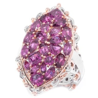 Michael Valitutti Palladium Silver Multi Shape Rhodolite Cluster Elongated Ring
