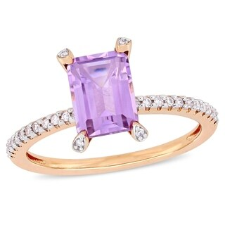 Miadora 10k Rose Gold Octagon-Cut Rose de France and 1/10ct TDW Diamond Solitaire Ring