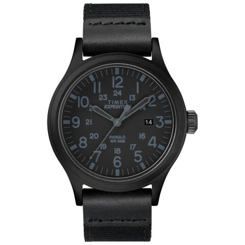 Timex Men's TW4B14200 Expedition Scout 40 Black Leather/Nylon Strap Watch