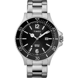 Timex Men's TW2R64600 Harborside Silver-Tone/Black Stainless Steel Bracelet Watch