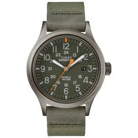 Timex Men's TW4B14000 Expedition Scout 40 Green/Gray Leather/Nylon Strap Watch - N/A