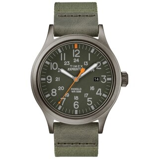 Timex Men's TW4B14000 Expedition Scout 40 Green/Gray Leather/Nylon Strap Watch - N/A - N/A