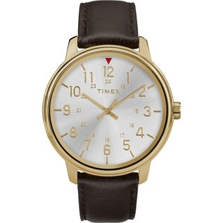 Timex Men's TW2R85600 Basics 43mm Black/Two-Tone Leather Strap Watch - N/A - N/A