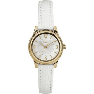 Timex Women's TW2R85900 Basics 26mm White/Gold-Tone/Silver-Tone Croco Pattern Leather Strap Watch - N/A - N/A