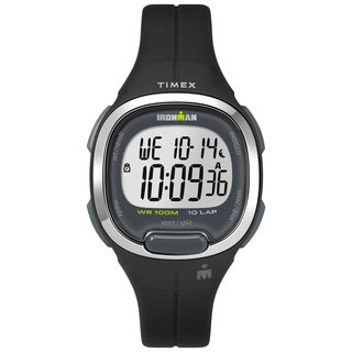 Timex Women's TW5M19600 Ironman Transit Mid-Size Black/Silver-Tone Resin Strap Watch