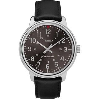 Timex Men's TW2R85500 Basics 43mm Black/Silver-Tone Leather Strap Watch