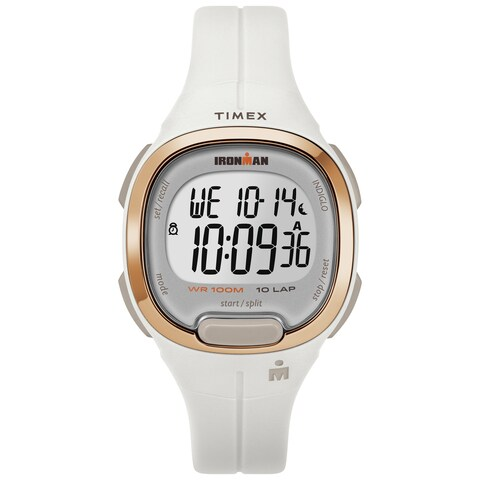 Timex Women's TW5M19900 Ironman Transit Mid-Size White/Rose Gold-Tone Resin Strap Watch - N/A - N/A