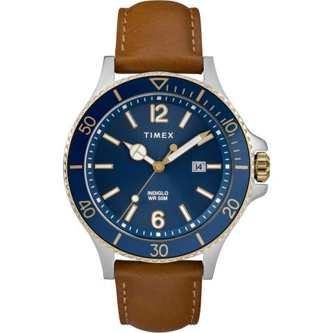 Timex Men's TW2R64500 Harborside Tan/Blue Leather Strap Watch