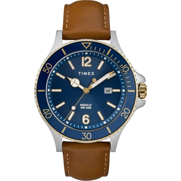 061a4620f Shop Timex Men's TW2R64500 Harborside Tan/Blue Leather Strap Watch - Free  Shipping Today - Overstock - 22550248