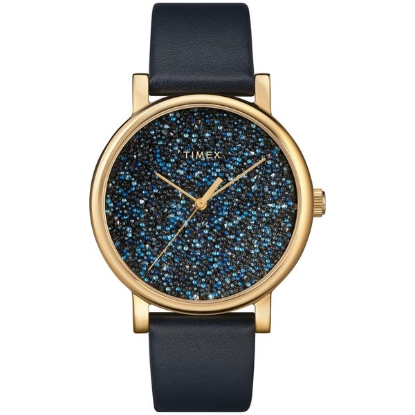 e914f7310 Shop Timex Women's TW2R98100 Crystal Opulence Blue/Gold Leather Strap Watch  - Free Shipping Today - Overstock - 22550250