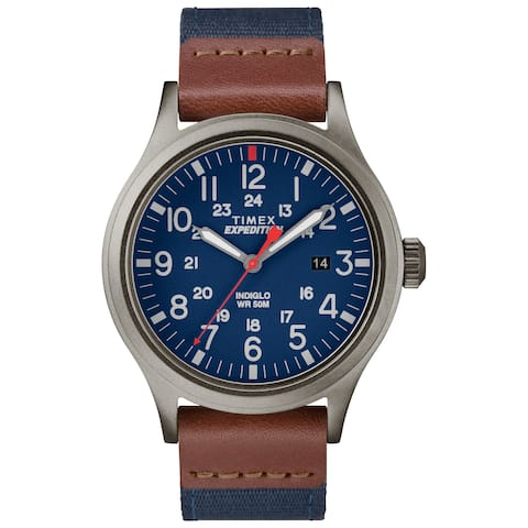 27ddcc037 Timex Men's TW4B14100 Expedition Scout 40 Blue/Brown/Gray Leather/Nylon Strap  Watch