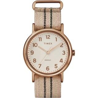 Timex Women's TW2R92100 Weekender 38 Metallic Blush/Graphite Stripe Fabric Slip-Thru Strap Watch