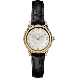 Timex Women's TW2R86100 Basics 26mm Black/Gold-Tone/Silver-Tone Croco Pattern Leather Strap Watch - N/A - N/A