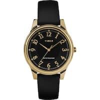 Timex Women's TW2R87100 Basics 36mm Black/Gold-Tone Leather Strap Watch - N/A