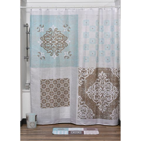 "Evideco Faience Printed Polyester Fabric Shower Curtain 71""W x 79""H"