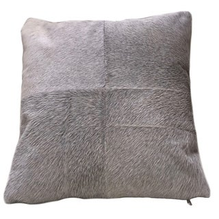 Grey Cowhide Pillow ESEL. Double sided leather pillow.