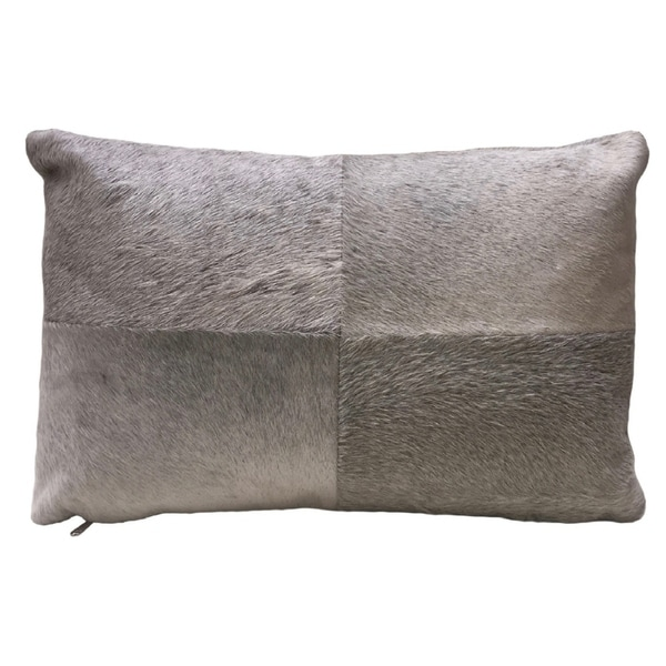 Grey Rectangular Cowhide Pillow ARGO. Double sided leather pillow.