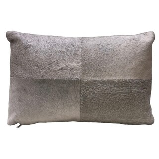 Grey Rectangular Cowhide Leather ARGO Double-sided Pillow with Zipper