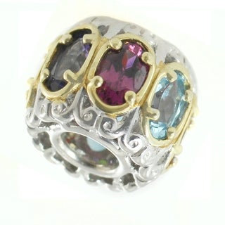 Michael Valitutti Palladium Silver Rhodolite, Citrine & Multiple Gemstones Charm
