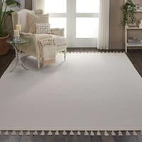 Nourison Otto Ivory Cotton-blend Solid Tassel Area Rug - 8' x 10'6