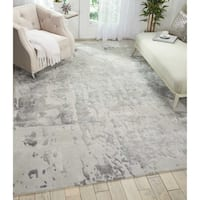 """Nourison Prismatic Silver Grey Abstract Area Rug - 9'9"""" x 13'9"""""""