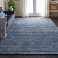 "Nourison Weston Aegean Blue Solid Area Rug - 9'6"" x 13'"