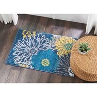 "Nourison Passion Blue/Yellow Floral Area Rug - 1'10"" x 2'10"""