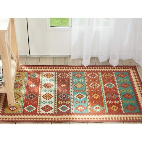 Nourison Madera Light Orange Aztec Area Rug