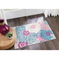 "Nourison Passion Grey/Pink Floral Area Rug - 1'8"" x 2'8"""