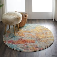 Nourison Celestial Sealife Multicolor Abstract Round Rug - 4' Round