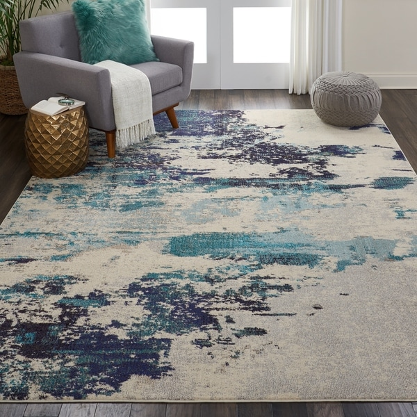 Nourison Celestial Ivory Teal Blue Abstract Area Rug - 9' x 12'