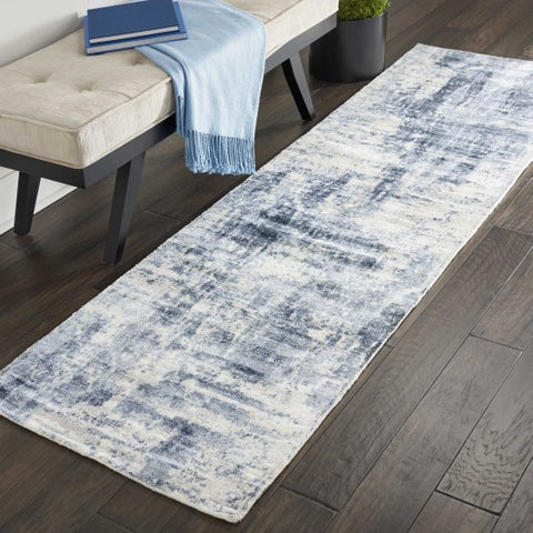 "Kathy Ireland Vintage Abstract Blue Runner Rug by Nourison - 2'3"" x 8' Runner"