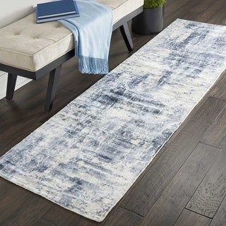 Nourison Kathy Ireland Vintage Abstract Blue Rayon From Bamboo Runner Rug - 2'3 x 8'