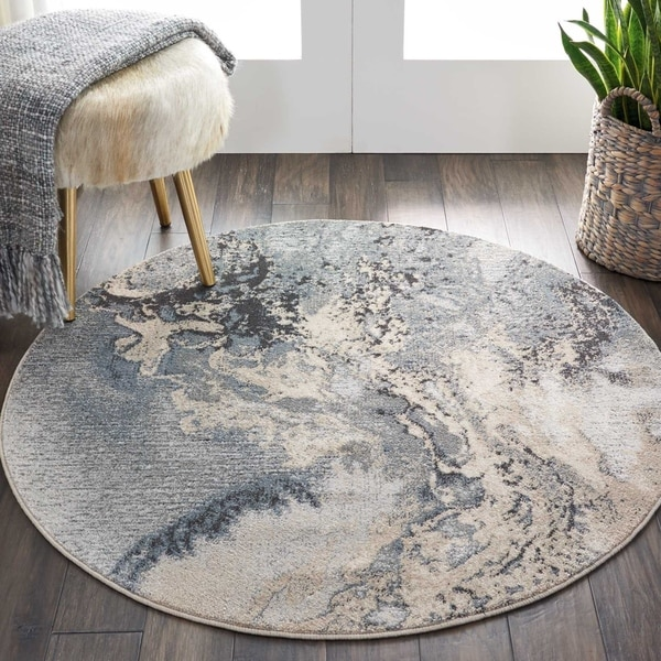 Shop Nourison Maxell Grey Round Rug On Sale Free