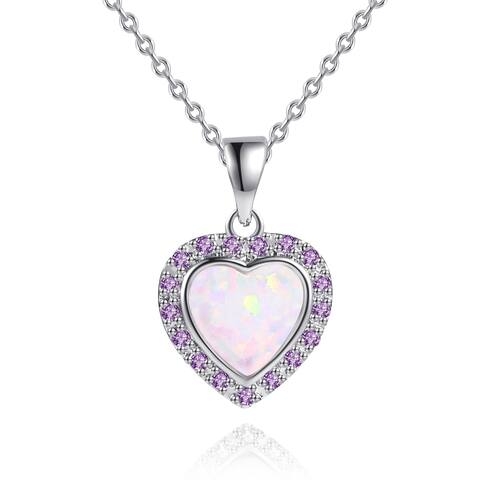 Rhodium Plated Lab Created Fire Opal Cubic Zirconia Heart Pendant
