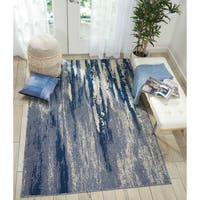 Nourison Barclay Butera Blue/Cream Abstract Area Rug - 9'3 x 12'9