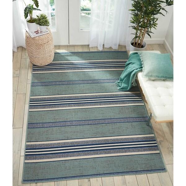 Shop Barclay Butera Aqua Blue Striped Area Rug By Nourison