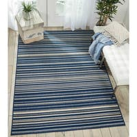 "Barclay Butera Navy/Cream Striped Area Rug by Nourison - 9'3"" x 12'9"""