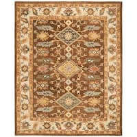 Safavieh Handmade Antiquity Traditional Dark Brown / Ivory Wool Rug - 8' x 10'