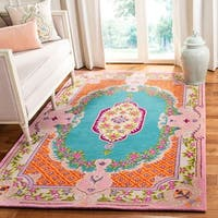 Safavieh Handmade Bellagio Boho Chic Blue / Pink Wool Rug - 8' x 10'