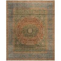Safavieh Hand-Knotted Izmir Traditional Rust / Light Blue Wool Rug - 9' x 12'