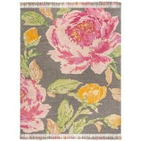 Safavieh Hand-Knotted Kenya Transitional Pink / Dark Grey Wool Rug - 9' x 12'