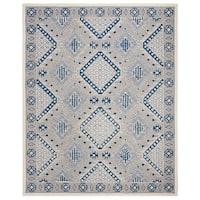 Safavieh Handmade Micro-Loop Transitional Light Grey / Blue Wool Rug - 8' x 10'