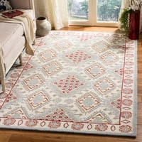Safavieh Handmade Micro-Loop Transitional Ivory / Red Wool Rug - 8' x 10'