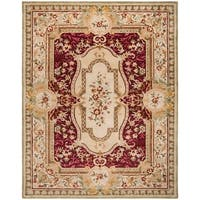 Safavieh Handmade Savonnerie Traditional Red / Ivory Wool Rug - 9' x 12'