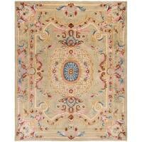 Safavieh Handmade Savonnerie Traditional Sage / Blue Wool Rug - 9' x 12'