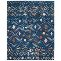 Safavieh Hand-Hooked Suzani Transitional Blue / Multi Wool Rug - 8' X 10'