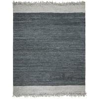 Safavieh Hand-Woven Vintage Leather Modern & Contemporary Light Grey / Dark Grey Leather Rug - 8' x 10'
